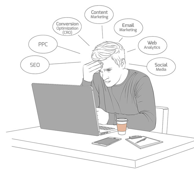 man overwhelmed with digital marketing options